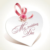 Wedding card in the form of heart with rose and pink ribbon. — Stok Vektör