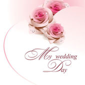 Wedding card with pink roses. — ストックベクタ