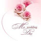 Carte de mariage avec des roses roses. — Vecteur