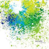背景に緑色の斑点、白にスプレー — ストックベクタ