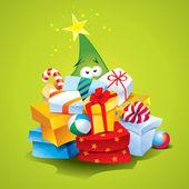 Curioso árbol de navidad con muchos regalos sobre un fondo verde. v — Vector de stock
