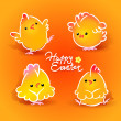 Easter card with four chickens (roosters and hens) on orange — Vettoriale Stock #8836815