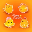 Easter card with four chickens (roosters and hens) on orange — Vecteur #8836815