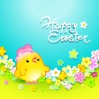 Vector de stock : Easter card with nice chicken in meadow with flowers. Vector