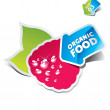 Icon raspberry with an arrow by organic food — Stock Vector