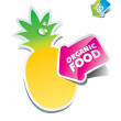 Icon pineapple with an arrow by organic food — Stock Vector
