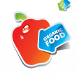 Icon paprika with an arrow by organic food — Imagen vectorial