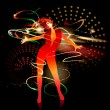Vector de stock : Dancing girl with shining splashes on dark background. Vector