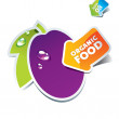 Icon plum with an arrow by organic food — Stock Vector