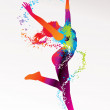 The dancing girl with colorful spots and splashes on a light bac — Stock Vector