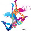 Wektor stockowy : Two dancing girls with colorful spots and splashes on white back
