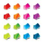 Set of multicolored arrows stickers. — Stock Vector