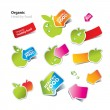 Set of stickers and icons of healthy and organic food — Image vectorielle