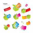 Set of stickers and icons of healthy and organic food — Imagen vectorial