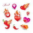 Set of hearts. The icons and stickers for themes like love, Vale - Stock Vector