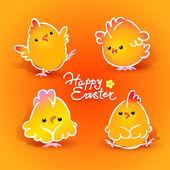 пасхальная открытка с четырьмя кур (петухи и куры) на оранжевый — Cтоковый вектор
