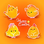 Easter card with four chickens (roosters and hens) on the orange — Cтоковый вектор