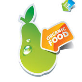 Icon pear with an arrow by organic food — Stock Vector