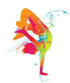 El niño bailando con manchas coloridas y salpicaduras en blanco backgr — Vector de stock
