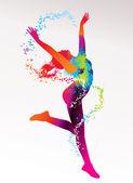 La ragazza che balla con macchie colorate e schizzi su un leggero bac — Vettoriale Stock