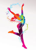 The dancing girl with colorful spots and splashes on a light bac — Vecteur