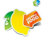 Icon lemon with an arrow by organic food — Stock Vector