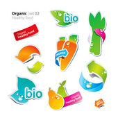 Set of stickers and icons of healthy and organic food — Stock Vector