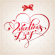 Valentine card with calligraphic lettering. Vector illustration. — Stock Vector