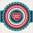 Vintage Valentine card. Vector illustration. — Vettoriale Stock