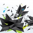 Modern abstract figure of black triangles surrounded flying spli — Image vectorielle