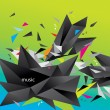 Abstract figure of black triangles surrounded flying splinters a — Stok Vektör