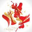 Christmas red and gold figured Angels with stars on a white back — Stock Vector