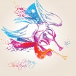 A colorful Christmas Angels with drops and sprays on a beige bac — Imagen vectorial