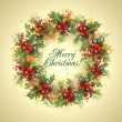 Christmas card. The holly wreath on a beige background. Vector i — Stock Vector