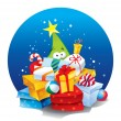 Stockvector : Christmas tree with lots of gifts. Vector illustration.