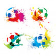 Colorful footballs — Stock Vector