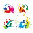 Colorful footballs — Stock Vector #8897589