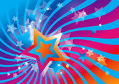 Abstract background with stars and colorful waves — Cтоковый вектор
