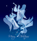 Christmas Angels on a blue background. Classical figures from a — Stock Vector