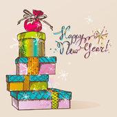 Un regalos de navidad en embalaje colorido — Vector de stock