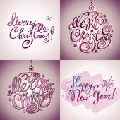 Merry Christmas and New Year lettering (inscriptions) — Stock vektor