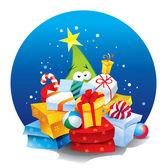 Julgran med massor av presenter. vektor illustration. — Stockvektor