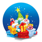 árbol de navidad con un montón de regalos. ilustración vectorial. — Vector de stock