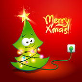 Christmas tree wrapped by a glowing garland. Vector illustration — Stockvector