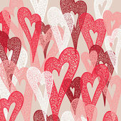 Background of colorful hearts. Hand drawn illustration, vector. — Stock Vector
