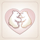 Valentine card with couple of hugging bears in heart. — Stock Vector