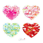 Four different hearts with drops, spots and sprays from a brush. — Stock Vector