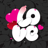 Valentine card with lettering LOVE on a black patterned backgrou — Vector de stock