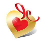 Icon in the form of golden heart with ribbon for themes like lov — Stok Vektör