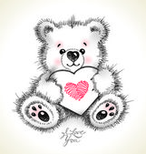 Hand drawn furry teddy bear with a heart in paws. — Stockvector